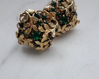 Vintage Gold tone and Green Gemstone  Clip-on Earrings