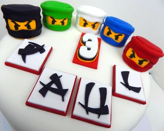 Personalised Lego NINJAGO with name,number for birthday edible sugar paste, shipping from UK