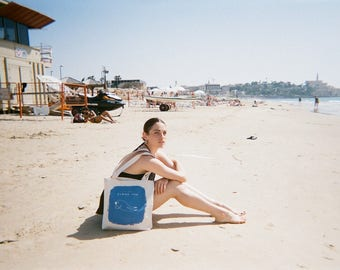 Canvas Bag, Vegan Bag, Canvas Tote, Summer Bag, Beach Bag,  Printed Bag, Printed Tote, Shopping Bag, Fish Bag, Fish Print