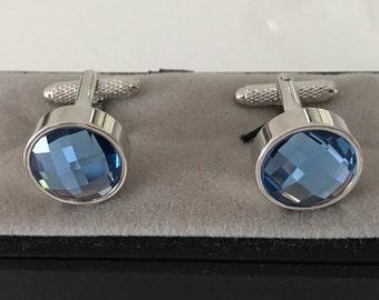 Blue Sapphire Cufflinks - Ideal gift or Wedding Best Man Present -