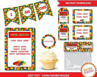 PARTY PACKAGE Lego Building Blocks | Add Your Own Text Using Adobe Reader | Printable | Instant Download