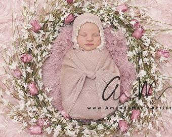 newborn wrap and bonnet, baby bonnet, baby knit wrap,  newborn knit wrap, baby photo props, newborn props,  newborn bonnet,  newborn wrap