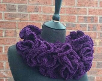 Purple scarf, crochet, womens scarf, statement piece, necklace scarf, neck accessories, statement necklace, crochet scarf, button scarf