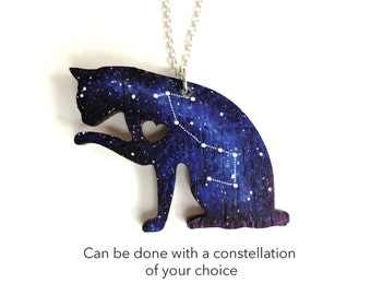 Custom Space Universe Galaxy Cat Hand Painted Pendant Necklace With Or Withour Constellation