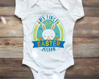 My First Easter Shirt Boy - My 1st Easter Shirt - Custom Easter Shirt - Personalized Boy First Easter Shirt - Easter Bunny Shirt - Rabbit