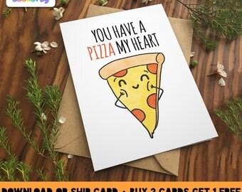 PIZZA MY HEART Greeting Card Love birthday Boyfriend Girlfriend Print Anniversary Friend Cute pizza Pun Food Couple valentines kawaii