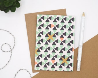 Mint Green Geometric Card // Card for any Occasion // Blank Card // A6 Card // Thank You Card // Birthday Card