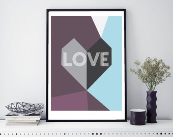 Geometric Wall Art // Love Wall Art // Heart Art Print //  A3 Print // Contemporary Wall Art
