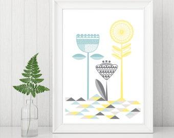 Floral Geometric Contemporary Wall Art  // Art Poster // Art Print // Floral Pattern Print // Wall Art