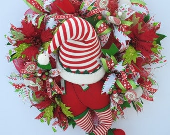 Elf Wreath, Whimsical Christmas Wreath, Holiday Wreath, Elf Booty Wreath, Elf Hat Wreath, Chistmas Wreath, Elf Butt Wreath, Winter Wreath