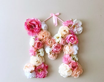 "Floral monogram, Nursery wall art, Floral letter nursery, Flower letters, Nursery decor / 45 cm/18""/ Baby shower, Kids gift, Flower monogram"