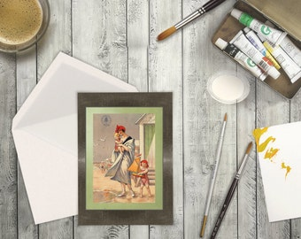 High Resolution from a Vintage Travel Poster for Blank Card of a Mom and Her Kids in Belgium, Europe. Greeting Card Traveler who loves Beach