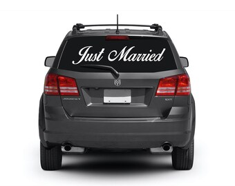 Just Married Decal - Just Married Car Sign / Wedding Decals / Just Married Sign