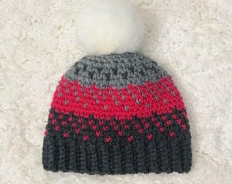 Faded Cupid Fair Isle Faux Fur Beanie // Knit-Style Crochet Winter Hat