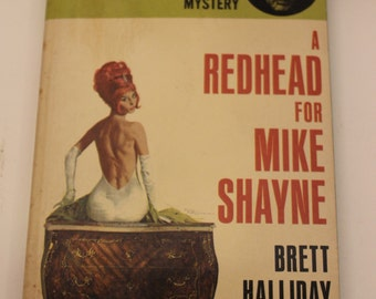A Redhead for Mike Shayne, By Brett Halliday, Mike Shayne Mystery Series, Dell Book # 7329, Vintage Paperback, Mystery Book, circa 1960s.