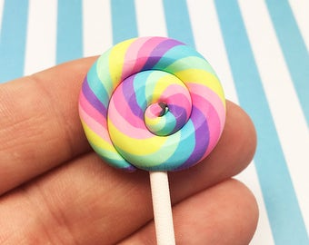 Colorful Pink Rainbow Polymer Clay Lollipop, Pastel, Candy (R001)