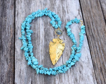 Southwest | Gold Turquoise Arrowhead Necklace, December Birthstone