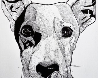 HUNGRY DOG (animal black  ink illustration, reproduction)