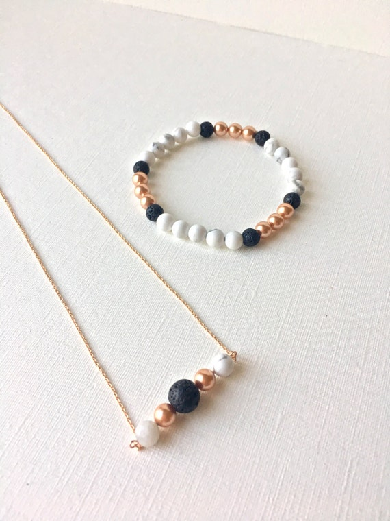 Essential Oil Diffuser Gift Set - Necklace and Bracelet - rose gold filled necklace - rose gold, white howlite, black lava stone bracelet