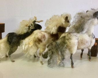 Needle felted ponies, ponies sculpture, ponies doll, wool ponies, Waldorf animal, ponies ornament, felted horses, wool horses, farm animal