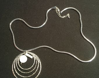 Beautiful Silver Necklace with Silver Circles Pendant
