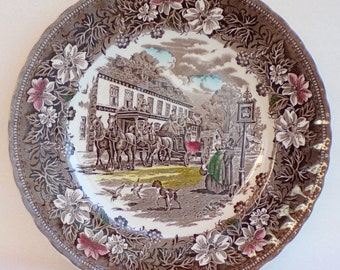 Royal Tudor Ware, Coaching Taverns, vintage dinner plate, wall decoration or replacement, made in England