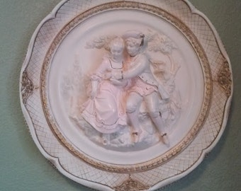 Vintage Alexander Backer ABCO 3D Chalkware Hanging Wall Plaque