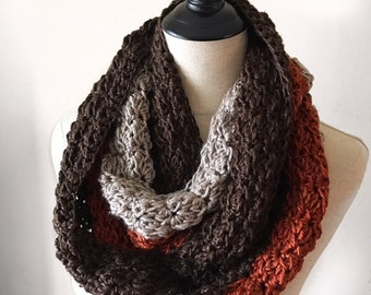 Caramel Infinity Scarf | Crochet Scarf | Long Scarf | Cowl | Beige, Burnt Orange, Dark Brown