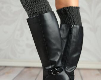 Charcoal Knit Buttoned Boot Cuffs
