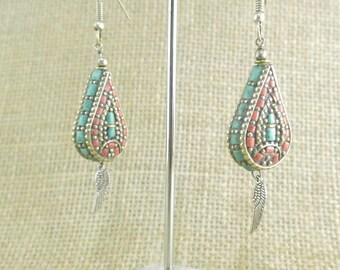 Tibetan earrings drop ethnic boho style