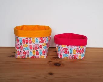 Reversible baskets owls cotton Poplin blue, yellow, fuchsia and pink, and United yellow cotton and fuchsia / children's room decoration