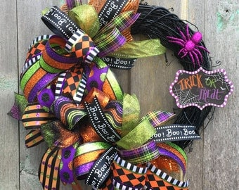 Halloween Front Door Wreath - Halloween Grapevine Wreath - Halloween Wreath - Fall Wreath - Deco Mesh Wreath - Happy Halloween Wreath
