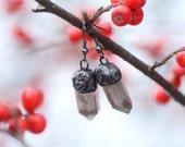 Crystal quartz earrings, smoky quartz jewellery, dangle tiffany point earrings, boho jewelry, magical bridal jewellery, for woman, girl.