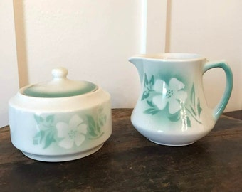 Vintage Syracuse China Millbrook Pattern Restaurant Ware Sugar and Creamer Set with Airbrushed Green Ombre Floral Design