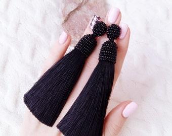 Black tassel earrings, Black earrings, Long tassel earrings, Long black earrings, Beaded tassel earrings, Stud earrings