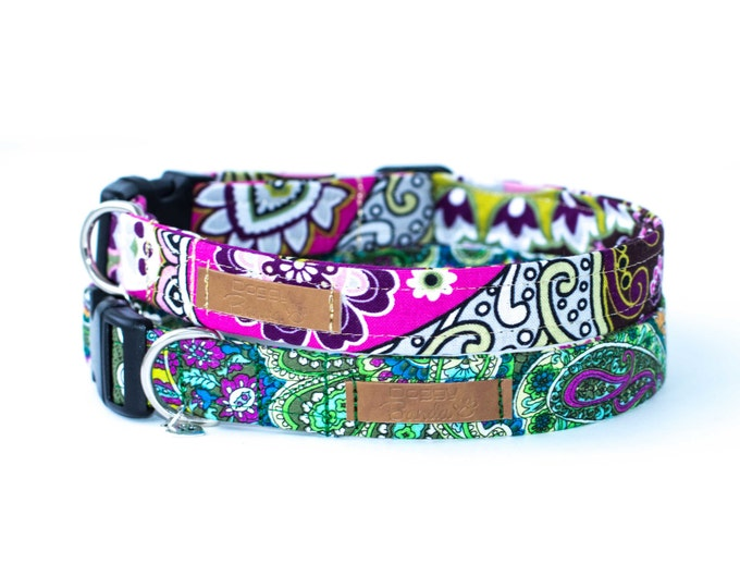 Fashion Dog Collar Bright Paisley Dog Collar Custom Green Dog Collar Pattern Floral Dog Collar Flower Girl Dog Collar Sparkle Pet Collar