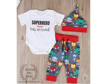 Boutique Baby  Boy  Superhero 3 PC Outfit add name