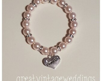 Flowergirl Charm Bracelet Heart Charm Bridesmaid Gift Pale Pink Pearls and Diamante Rondelles