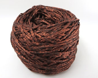 Italian Knitted Viscose Yarn in Two Tone Copper / Luxury Yarn / Warp Yarn / Fiber Art / Vintage Yarn / Knitting Crochet Weaving Filati 50g