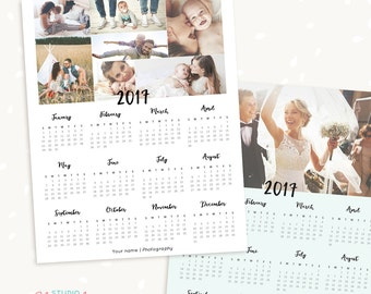 2017 calendar template / 5x7 / desktop calendar/ photoshop