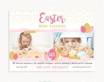 Easter Mini Session Template, Easter Mini Sessions, Easter Marketing Board, Easter Photoshop, Photography Marketing, Spring, Eggs, Glitter