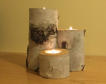 Small Birch Log Tea Light Candle Holder - 3 pieces