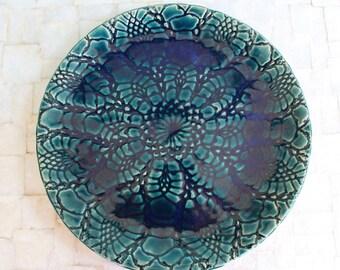 "Large turquoise ceramic lace platter | 12"" handbuilt stoneware platter"