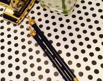Crown Gel Pen - Black Pen ~ Girly Pen ~ Planner Pen