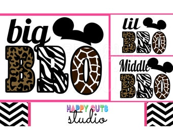 Big Bro Middle Bro Lil Bro Animal Print / Animal Kingdom Safari Cheetah Wild Baby Surprise Mickey Mouse Disney Iron On Decal Vinyl 198