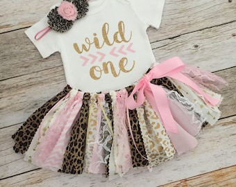 Safari Birthday Outfit with Headband, Pink and Gold Wild One Leopard Safari Birthday Outfit, Animal Print Birthday Outfit, Wild One Birthday