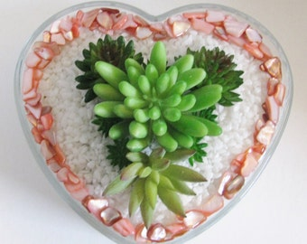 Succulent Planter, Heart-Shaped Planter, Faux Succulent Planter, Desk Accessory, Artificial Succulent Arrangement, Succulent Gift