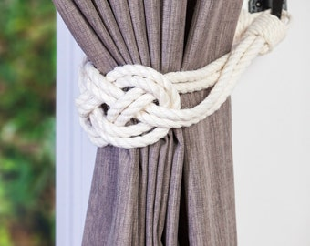 Ivory White Cotton Rope Carrick Bend Knot Curtain Tie-backs Large Knot Nautical Style Shabby Chic Rope Curtain Gray Tiebacks Hold-backs