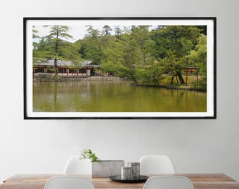 Japanese Shrine Wall Art, Panoramic Print, Canvas, Shrine Near River, Panoramic Wall Art, Japanese Shrine Photo, Wildlife Photography
