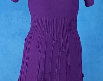 Purple raindrop sweater dress